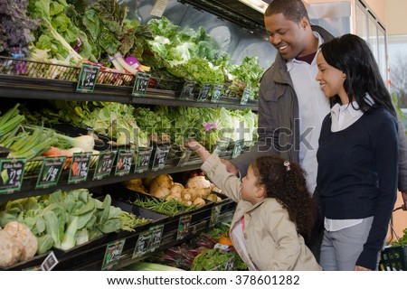 family shopping in a supermarket
