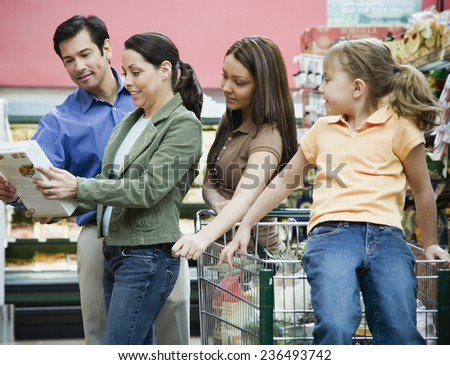 Family Shopping in Health Food Store - stock photo