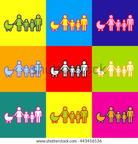 Family sign. Pop-art style colorful icons set with 3 colors.