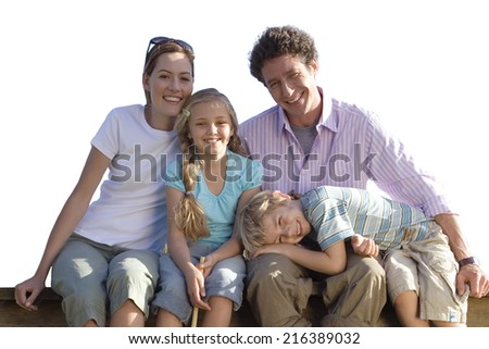 Family sitting, smiling, portrait, cut out