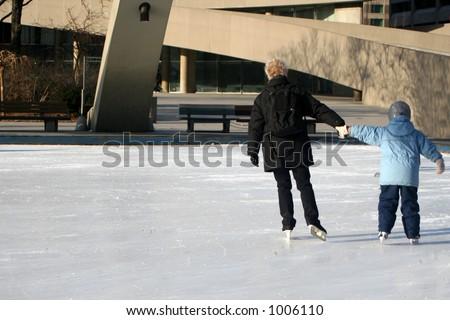 family skating - stock photo