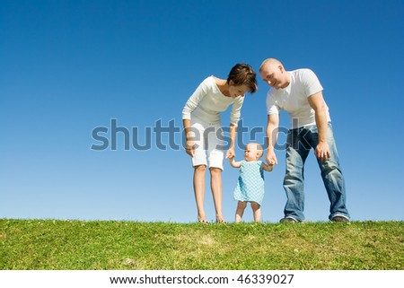 Family standing on grass