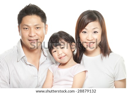 Family studio portrait of three. Young Chinese asian parents with their first child, a daughter