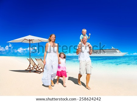 Family Summer Vacation Paradise Beach Happiness Concept - stock photo