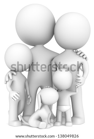 Family. The Dude with family of Four and a Dog. - stock photo