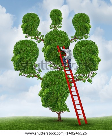 Family therapy and group health care concept with a tree shaped as a group of human heads with a medical doctor psychologist or psychiatrist on a ladder fixing relationship problems. - stock photo