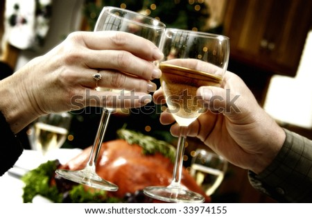 Family toasting at holiday dinner