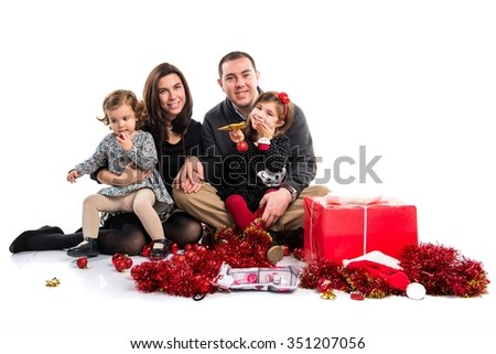 Family together for Christmas - stock photo