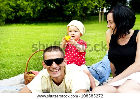 Family together on picnic time