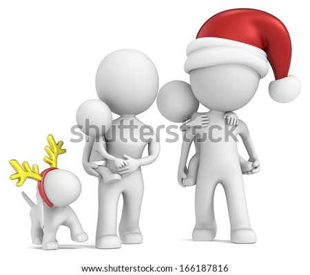 Family Tradition. The Dude with family and dog walking during christmas. Front view. - stock photo