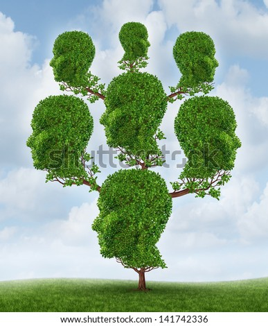 Family tree and community network as a social and business relationship concept as a plant shaped in a group of connected human heads growing together in partnership for success on a sky background. - stock photo