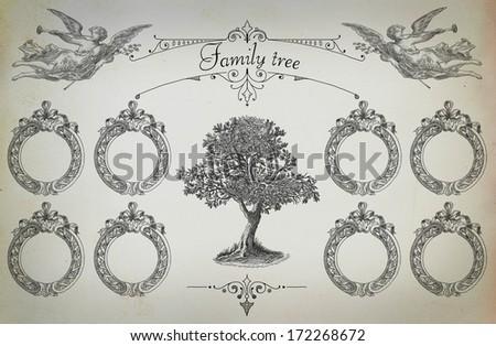 Family tree illustration - stock photo