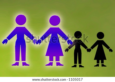 family unit with children in shadow - stock photo