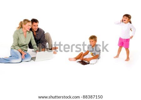 family using digital tablet laptop and mobile - stock photo