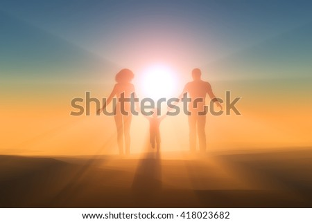 Family walking on the beach.,3d render - stock photo