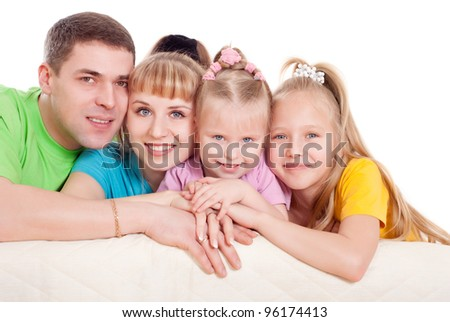 Family with daughters, a white background