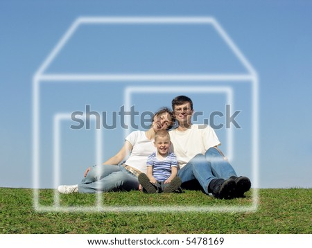 family with son and house of dream - stock photo