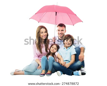 Family with the umbrella  - stock photo