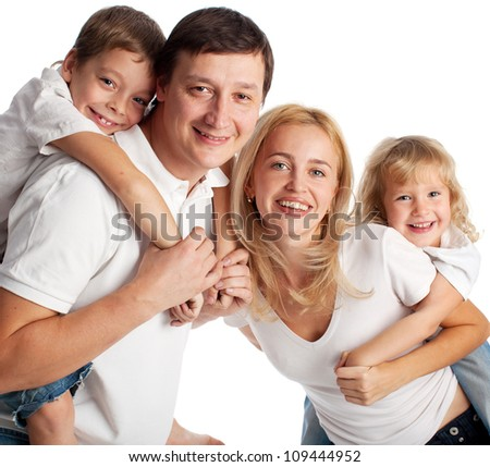 Family with two children on white background
