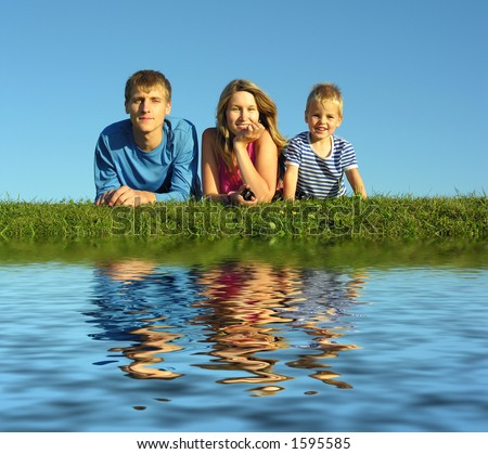 family with water