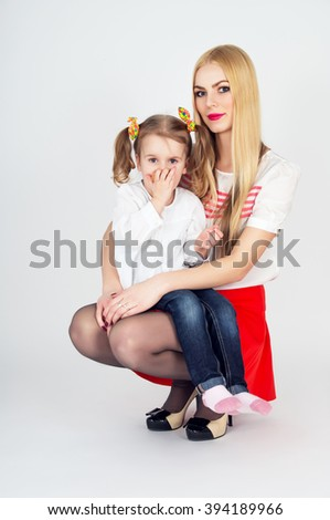 Family, young beautiful mother with her daughter - stock photo