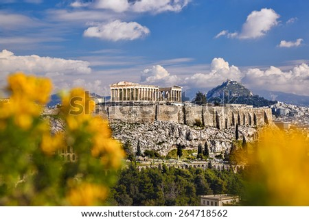 Famous Acropolis with Parthenon temple in Athens, Greece - stock photo