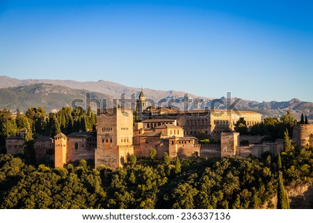 Famous Alhambra Royal Palace (UNESCO heritage) from the view point in front of the Alhambra hill - stock photo