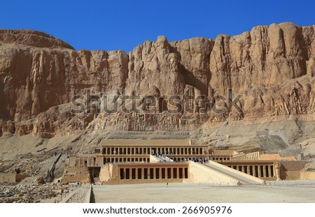 famous ancient temple of Hatshepsut in Luxor Egypt - stock photo