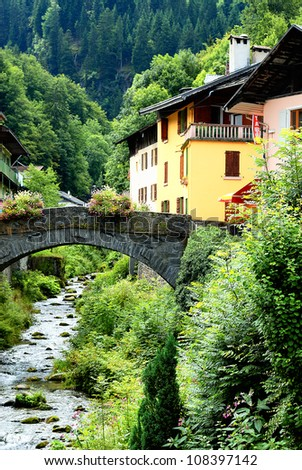 famous and beautiful alpine village, Beaufort sur Doron, savoy, France - stock photo