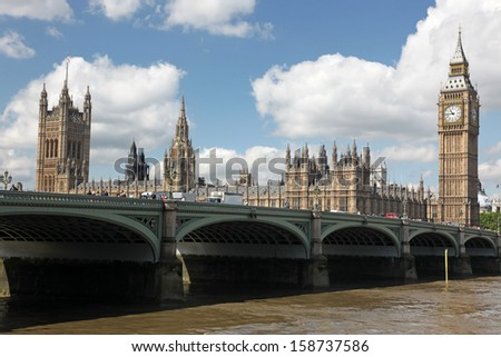 Famous and Beautiful view to Big Ben and the House of Parliament with  Westminster bridge, London, UK - stock photo