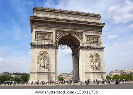 Famous Arc de Triomphe in Paris - stock photo