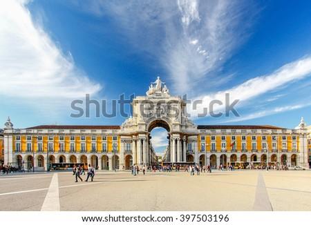 Famous arch at the Praca do Comercio, Lisbon, Portugal - stock photo