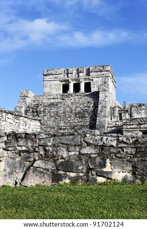 Famous archaeological ruins of Tulum in Mexico with blue sky