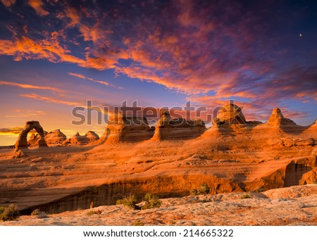 Famous arched rock formation in Arches National Park, Utah - stock photo