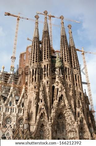 Famous architecture masterpiece Sagrada Familia in Barcelona, Spain - stock photo