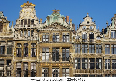 Famous architecture of La Grand-Place buildings in Brussels, Belgium. - stock photo