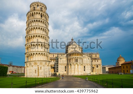 Famous architecture of the leaning tower in Pisa -  Italy  - stock photo