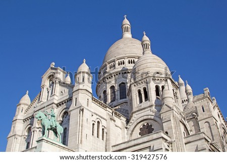 Famous Basilica of the Sacred Heart of Paris - stock photo