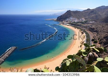 Famous beach and ocean lagoon Playa de las Teresitas,Tenerife, Canary islands, Spain - stock photo