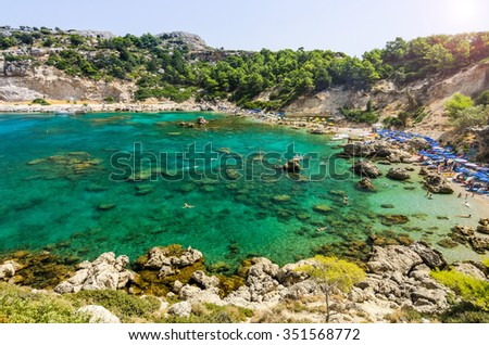 Famous beach in Anthony Quinn sea bay - stock photo