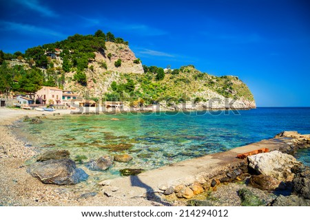 famous beach Isola Bella at Sicily, Italy - stock photo