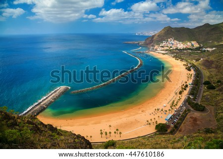 famous beach near Santa Cruz de Tenerife - Playa de Las Teresitas, Canary Islands, Spain