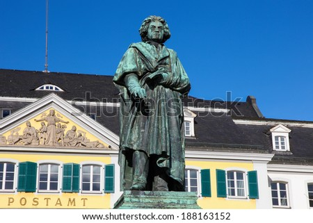 Famous Beethoven Monument in front of the Postamt in Bonn, North Rhine Westphalia, Germany. - stock photo