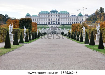 Famous Belvedere palace in the center of Vienna - stock photo