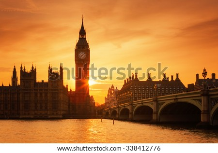 Famous Big Ben clock tower in London at sunset, UK. - stock photo