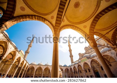 Famous Blue Mosque Sultan Ahmet Cami in Istanbul, Turkey - stock photo
