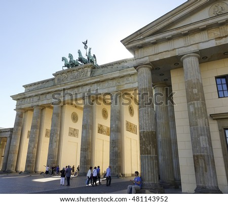 Famous Brandenburg Gate in Berlin called Brandenburger Tor - BERLIN / GERMANY - AUGUST 31, 2016