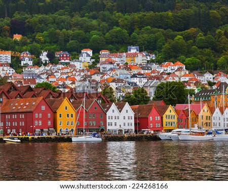 Famous Bryggen street in Bergen Norway - architecture background - stock photo
