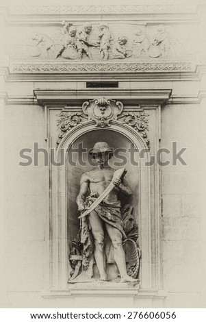 Famous building of Stock Exchange (Bourse de Bruxelles, Beurs van Brussel). Building was erected from 1868 to 1873 in the Neo-Renaissance style. Brussels, Belgium. Antique vintage. - stock photo