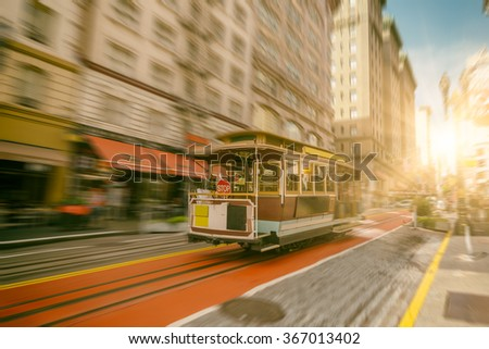 Famous Cable Car near Union Square in San Francisco, California. - stock photo